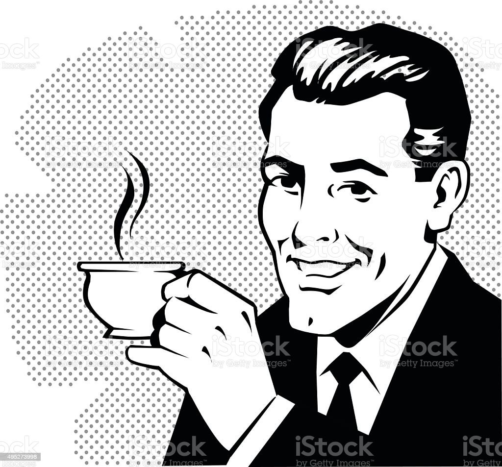 Hombre Retro bebiendo café - ilustración de arte vectorial