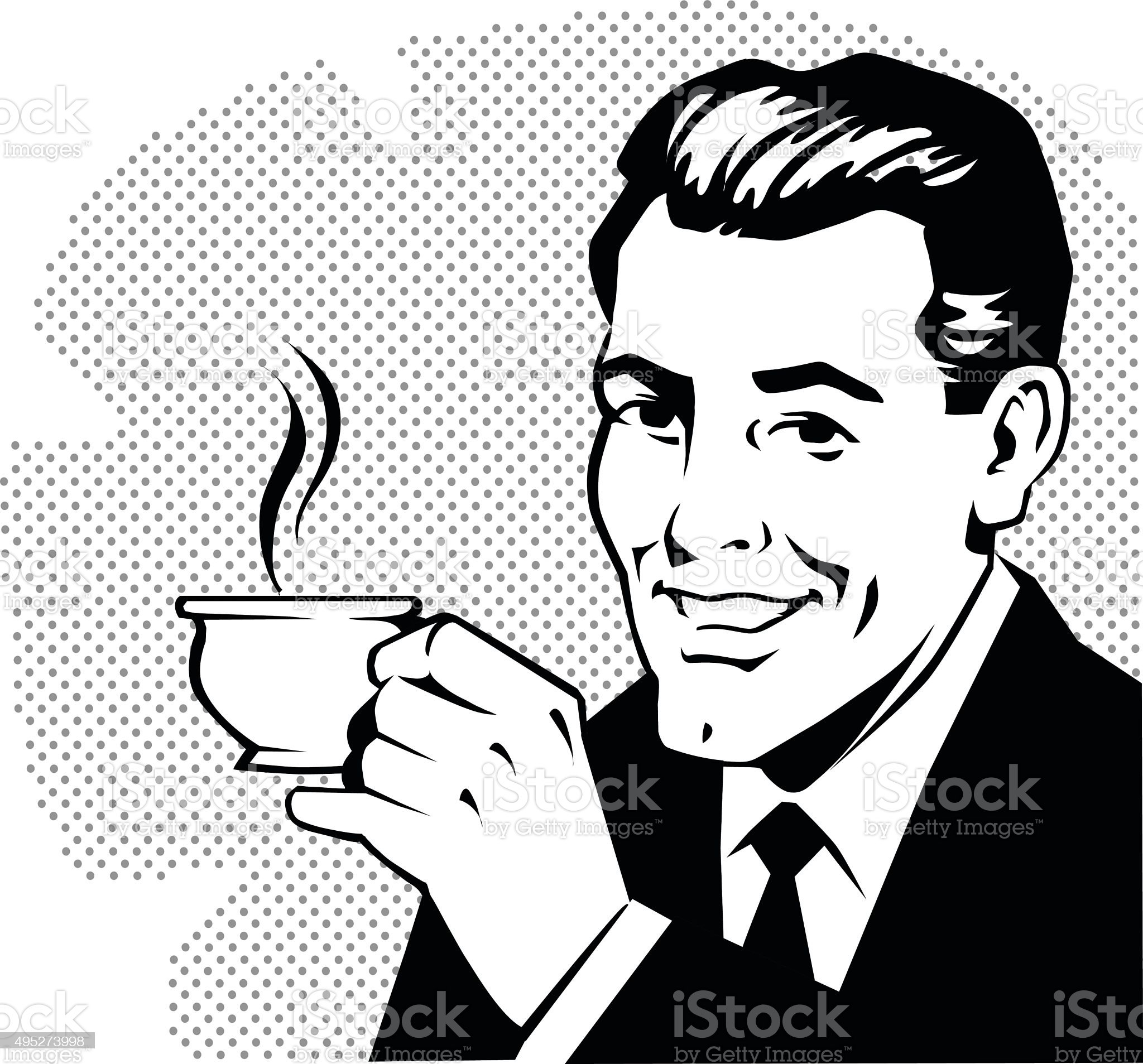 Retro Man Drinking Coffee royalty-free retro man drinking coffee stock vector art & more images of retro style