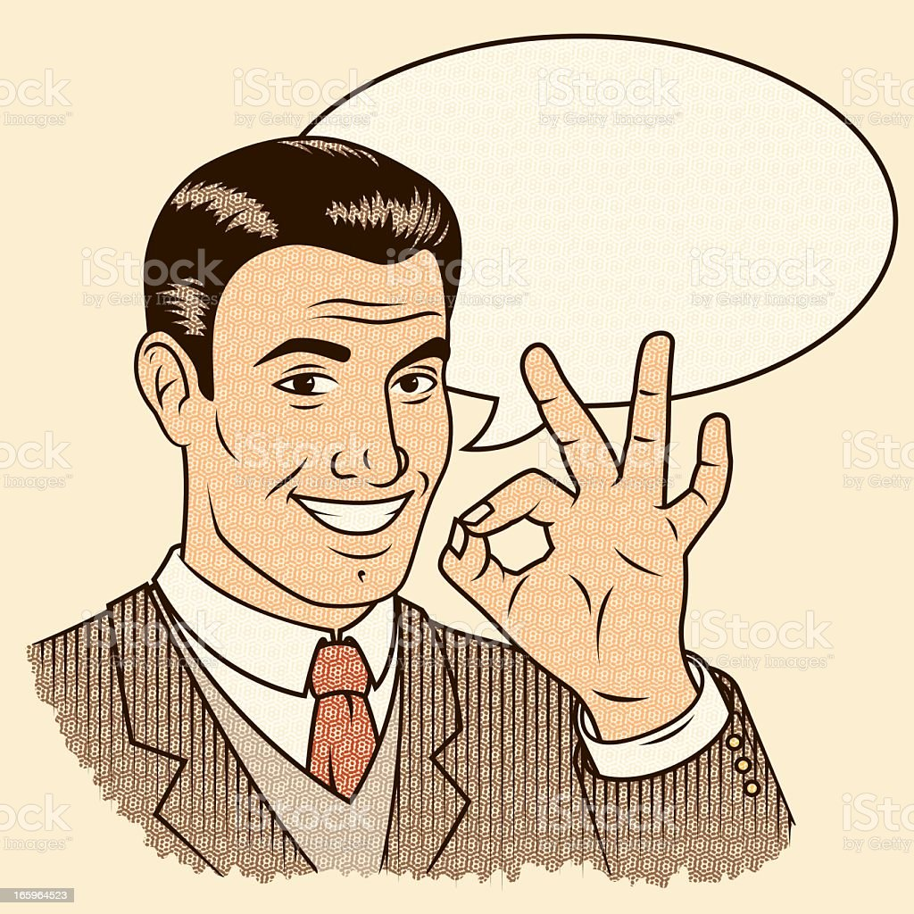 Retro Man Giving 'OK' Sign with Speech Bubble vector art illustration