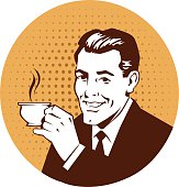 Retro Man Holding Cup of Coffee