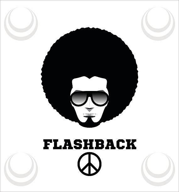 Retro man in 1970s hairstyle. Frizzy, 70's. vector art illustration