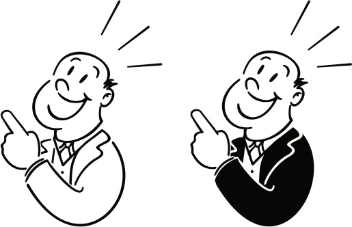 retro man in advert style pointing with exclamation lines