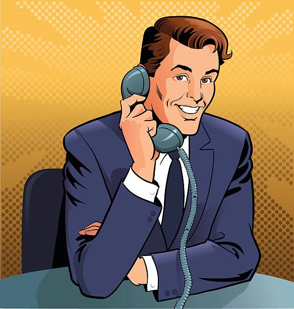 Retro Man Talking on the Phone  switchboard operator vintage stock illustrations