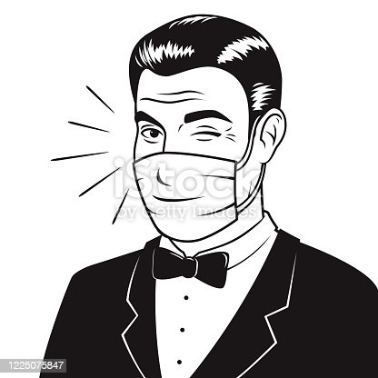 istock Retro Man Wearing Mask 1225075847