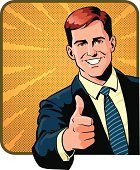 Image of a young business person giving his thumbs up for a great idea. Images are grouped on separate layers for easy editing. High resolution JPG and Illustrator 10 EPS included.  Some gradients were used. No transparencies.