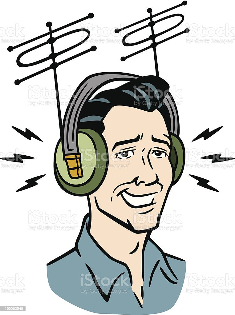 Retro Man With Vintage Headphones vector art illustration