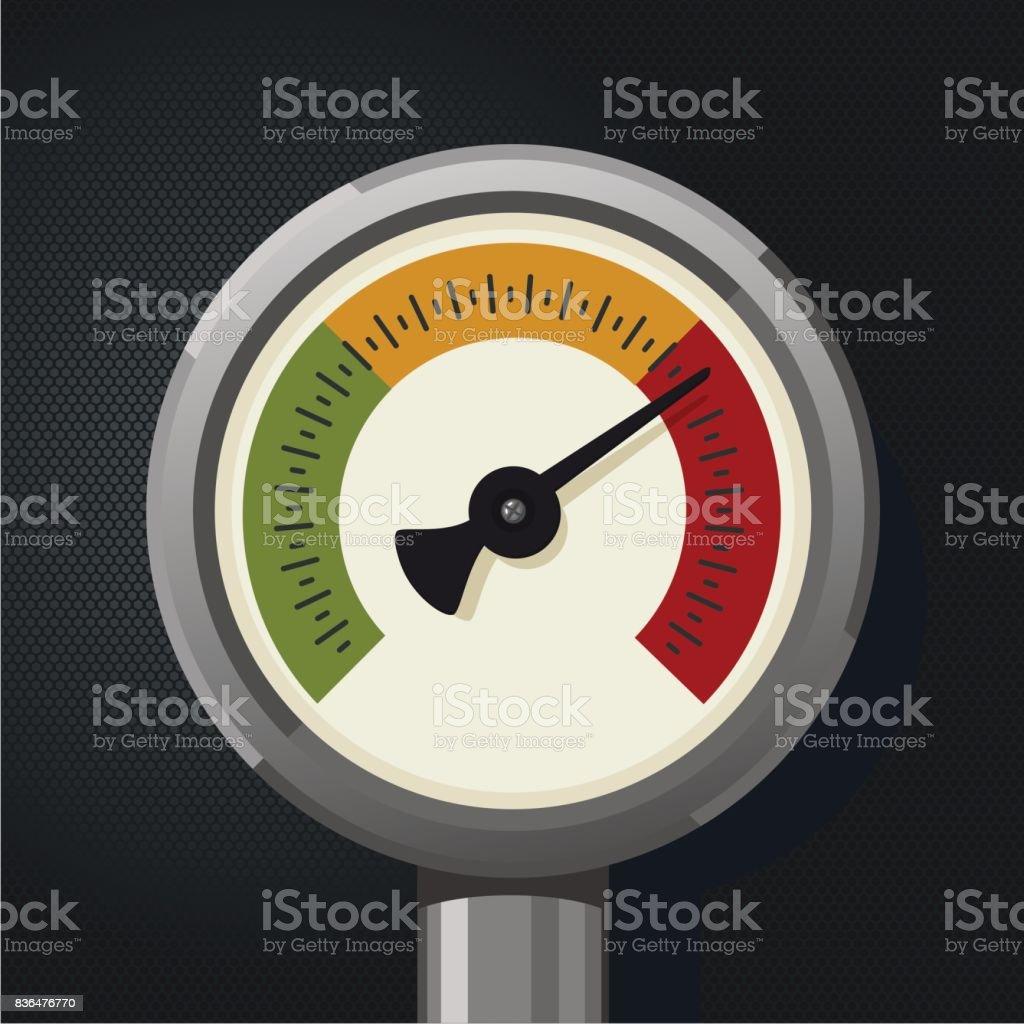 Retro manometer. Realistic vintage pressure gauge. Metallic pressure sensor. vector art illustration