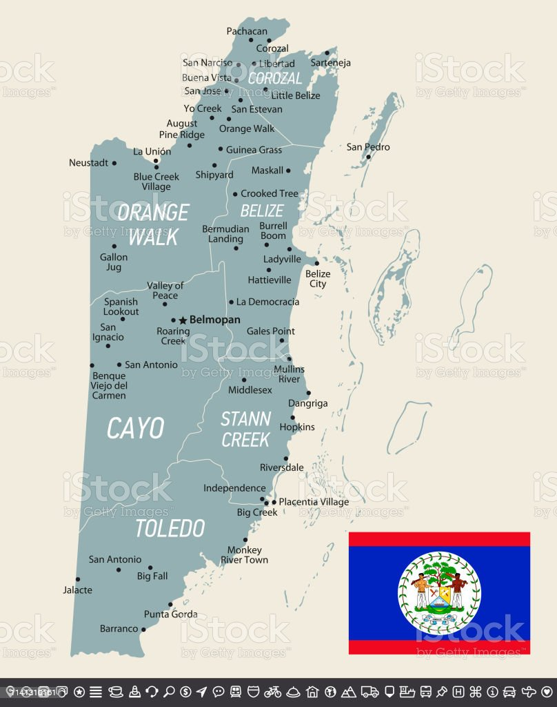 Retro Map Of Belize Vector Illustration With National Flag And ... on map of grenada, map of caribbean central america, map of gambia, map of mongolia, map of central america states, map of honduras central america, map showing belize, map of united state of america, map of bhutan, map of south america, map of mauritius, large map of central america, map of roatan central america, map guatemala central america, belize south america, map of algeria, world map of mexico and central america, map of north and central america, mayan ruins central america, map of zambia,