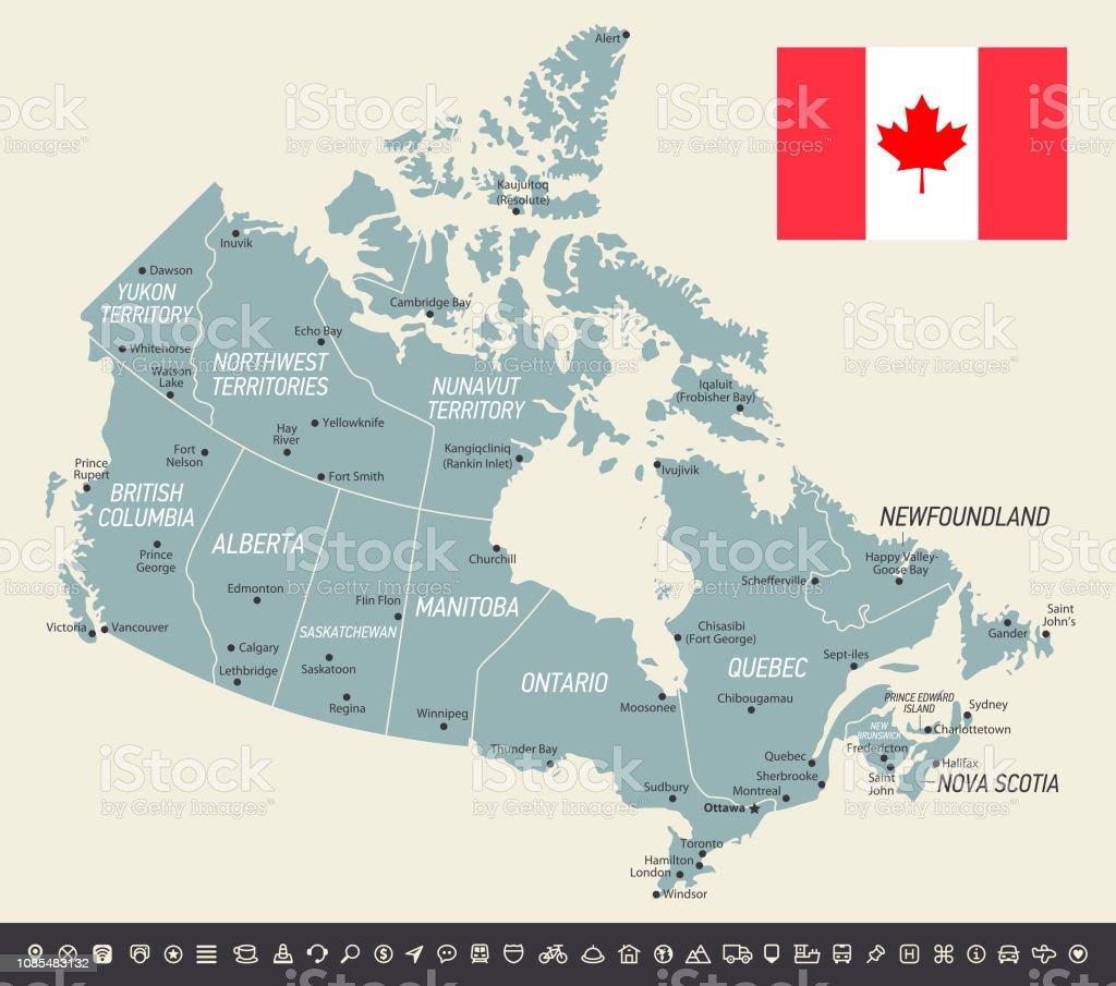 Karta Pa Kanada.Retro Karta Over Kanada Vektorillustration Med Kanadensisk Flagga