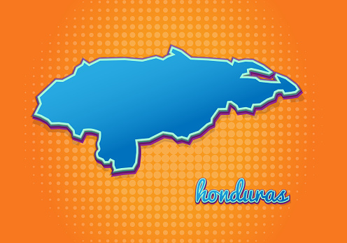 Retro map of honduras with halftone background. Cartoon map icon in comic book and pop art style. Cartography business concept. Great for kids design,educational game,magnet or poster design.