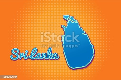 istock Retro map of sri lanka with halftone background. Cartoon map icon in comic book and pop art style. Cartography business concept. Great for kids design,educational game,magnet or poster design. 1286260649