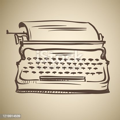 istock Retro mechanical typewriter made in the thumbnail style 1219914539
