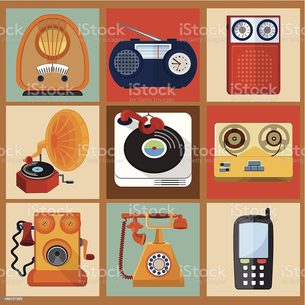 Retro Media Icons vector art illustration
