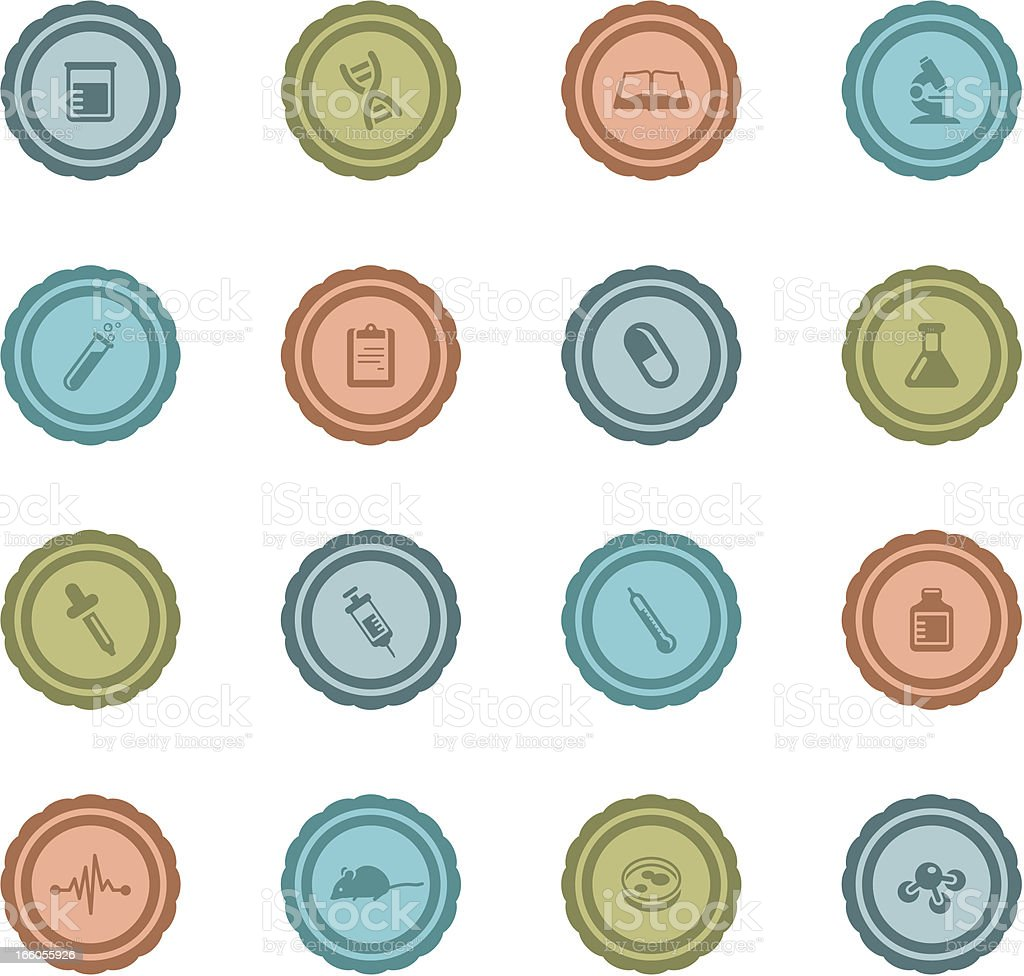 Retro Medical Research Badges royalty-free stock vector art
