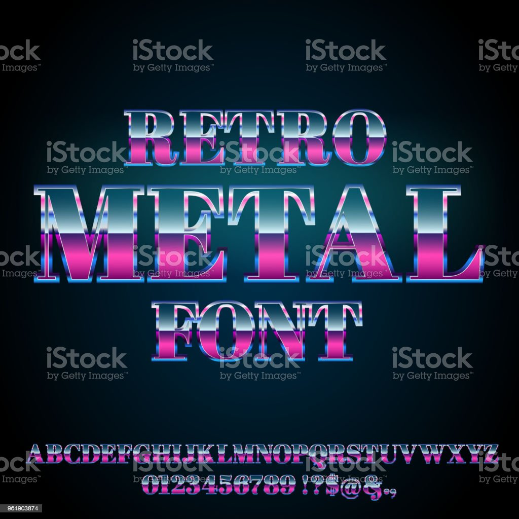 Retro Metal Font royalty-free retro metal font stock vector art & more images of alphabet
