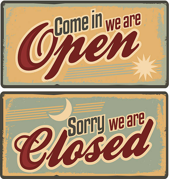 Retro metal signs set for store or shop Vintage tin signs with Come in we are open and Sorry we are closed text open sign stock illustrations
