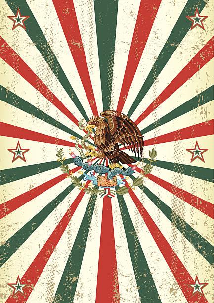 ilustraciones, imágenes clip art, dibujos animados e iconos de stock de póster retro sunbeams mexicana - bandera mexicana