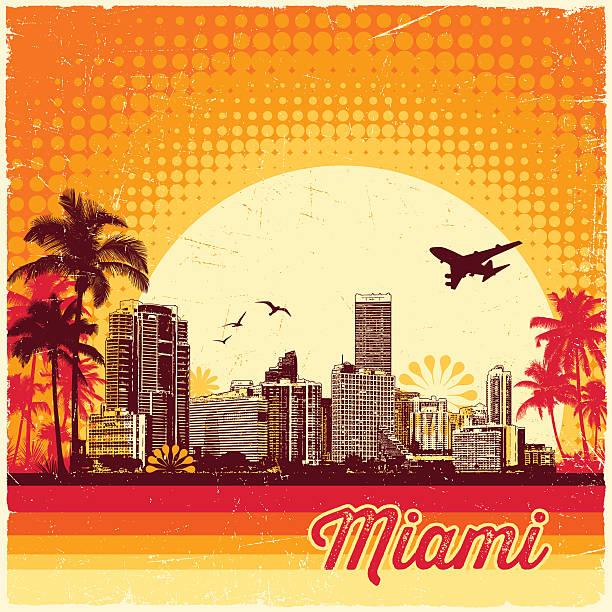 ilustrações, clipart, desenhos animados e ícones de retro horizonte de miami - viagem de primeira classe