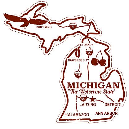 Retro Michigan Travel Stamp