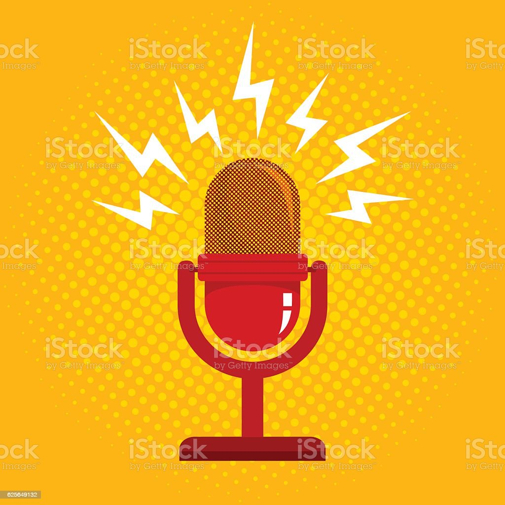 retro microphone and halftone vector art illustration