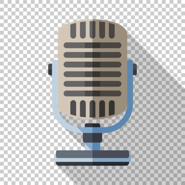Retro-Mikrofon-Symbol im flachen Stil mit langen Schatten auf transparentem Hintergrund – Vektorgrafik