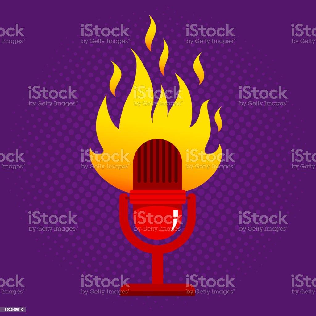 retro microphone in fire. vector art illustration