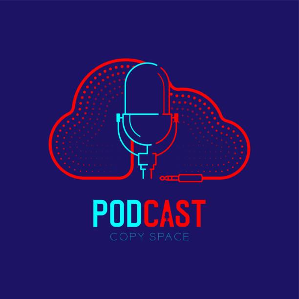 ilustrações, clipart, desenhos animados e ícones de traço retro do logotipo do ícone do microfone com forma da nuvem o cabo do traço do frame projeta, ilustração do conceito do programa de rádio do internet do podcast isolado na obscuridade-fundo azul com texto do podcast, vetor - podcast