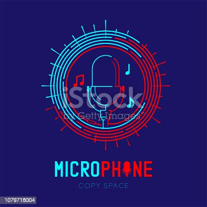 Retro Microphone logo icon outline stroke with music note in staff circle frame dash line design illustration isolated on dark blue background with Microphone text and copy space, vector eps 10