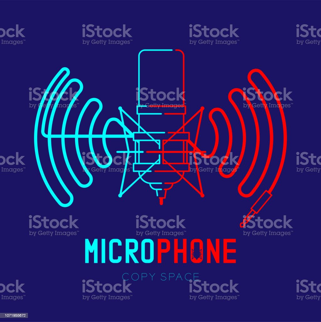 Retro Microphone logo icon outline stroke with wave frame from cable...