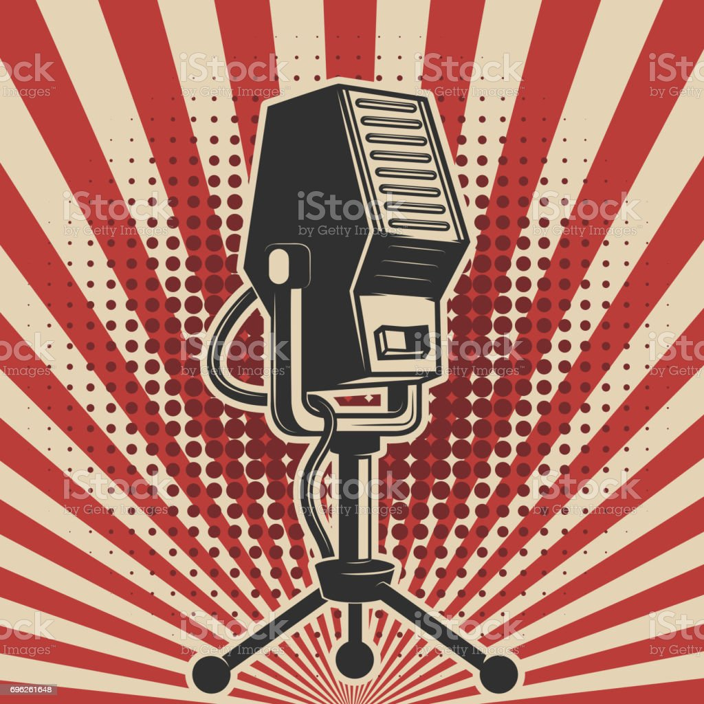 retro microphone on vintage background. Design element for poster, emblem, badge. Vector illustration vector art illustration