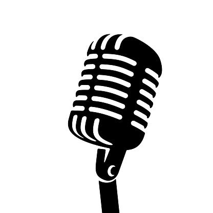 Black Retro vintage microphone on white background logo. Mic silhouette sign. Music, voice, record icon. Recording studio symbol. Flat stye vector illustration