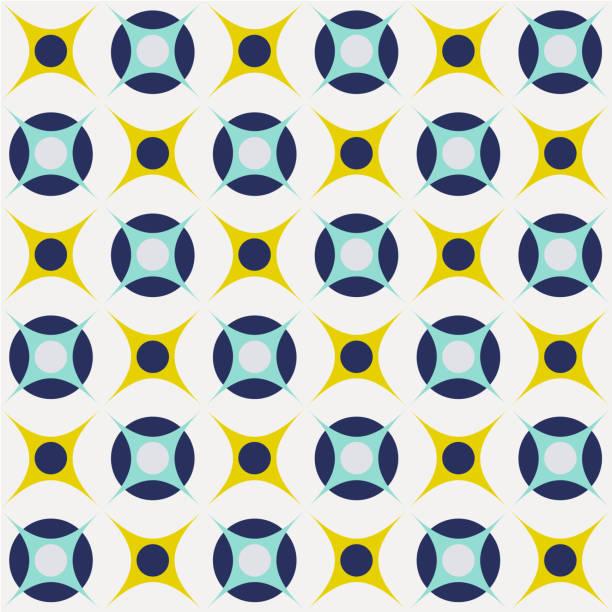 Retro mid century geo geometric 70s circles pattern vector art illustration