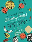 Retro Mid Century Modern Style Birthday Party Invitation