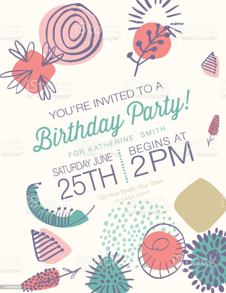 Retro Mid Century Modern Style Birthday Party Invitation Stock