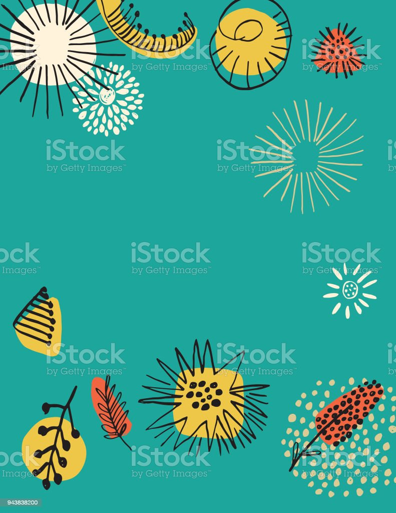 Retro Mid Century Modern Style Floral Background Stock