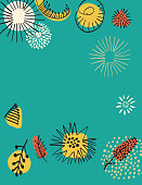 Retro Mid Century Modern Style Floral Background
