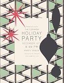 Retro Mid Century Modern Style Christmas Party Invitation