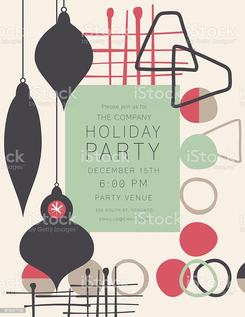 Retro Mid Century Modern Style Holiday Party Invitation vector art illustration