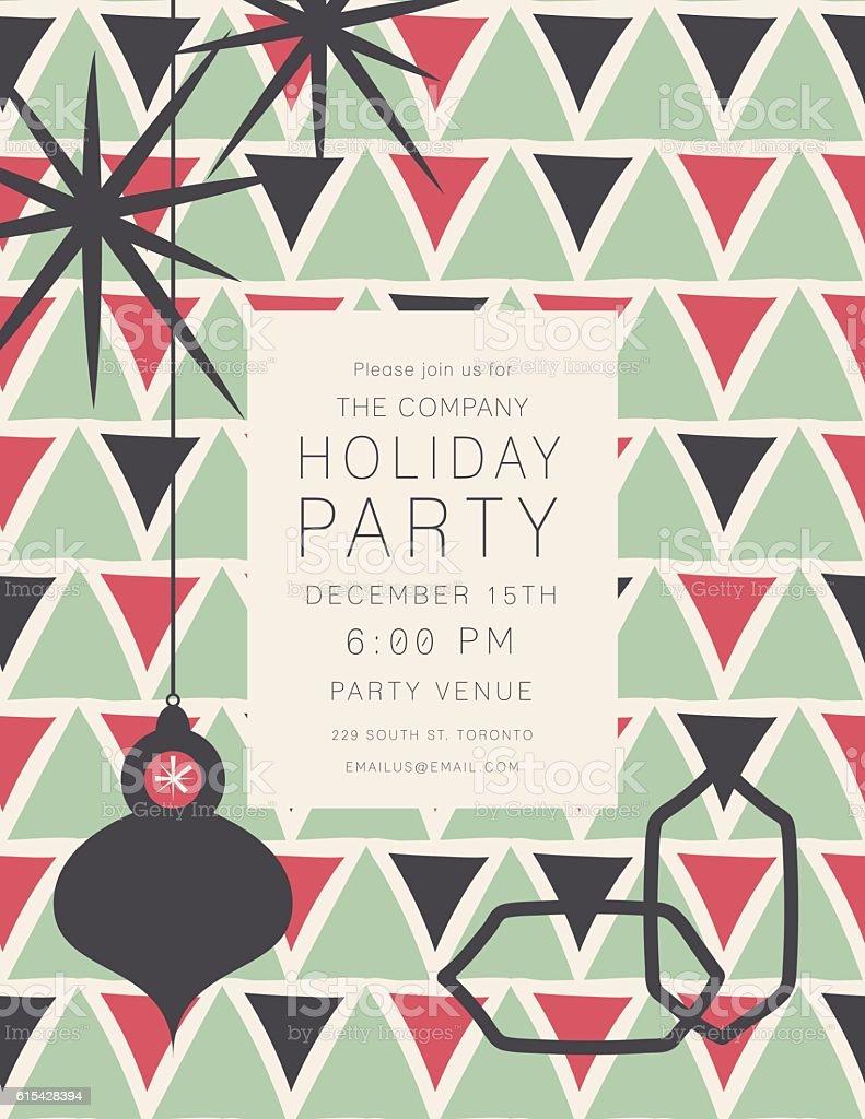 Retro Mid Century Modern Style Holiday Party Invitation Stock Vector ...