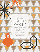 Retro Mid Century Modern Style Holiday Party Invitation