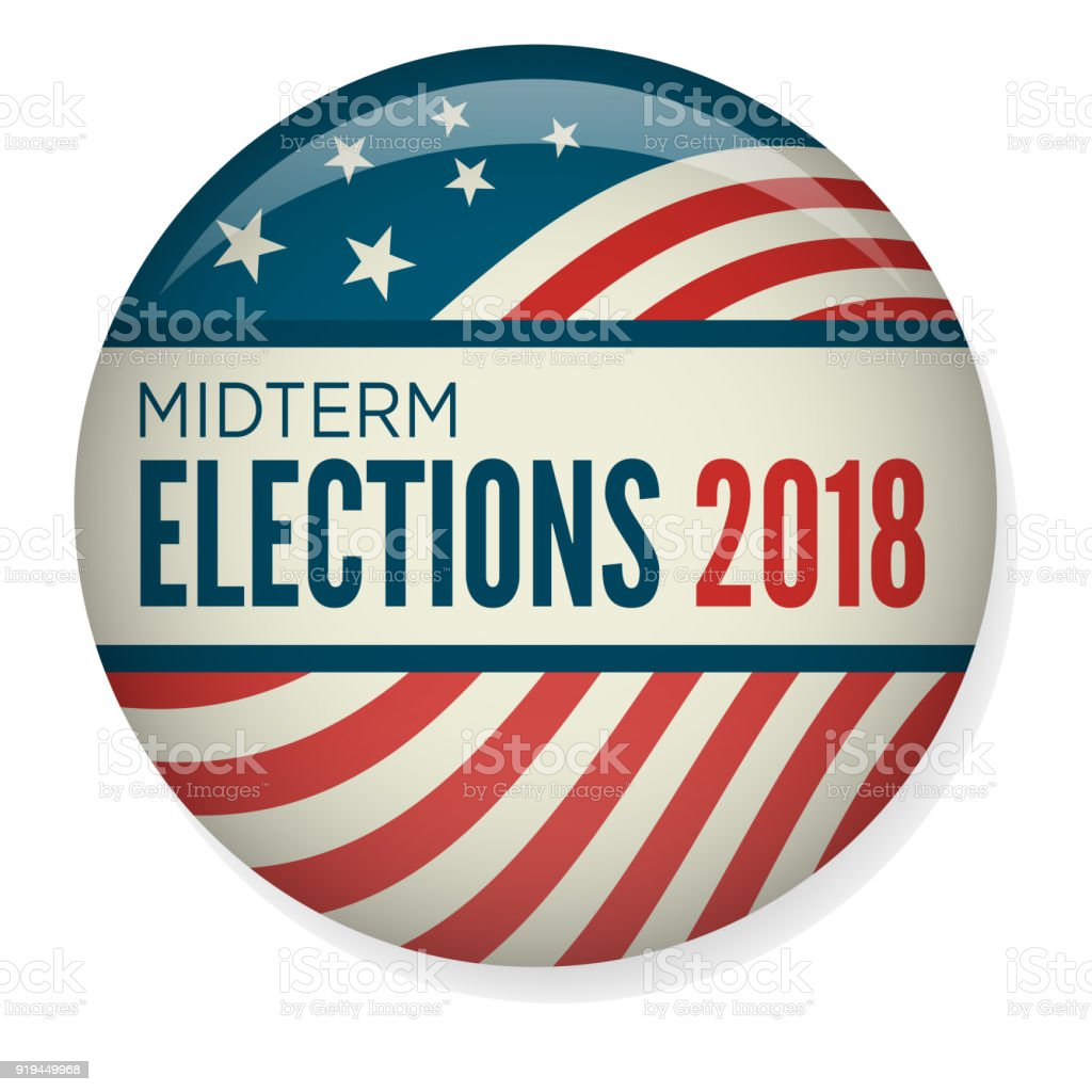 Retro Midterm Elections Vote or Election Pin Button / Badge vector art illustration