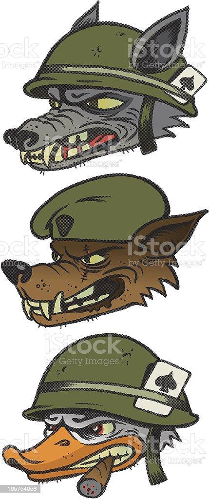Retro Military Mascots vector art illustration