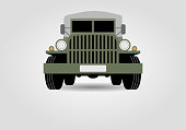 Retro military truck front view