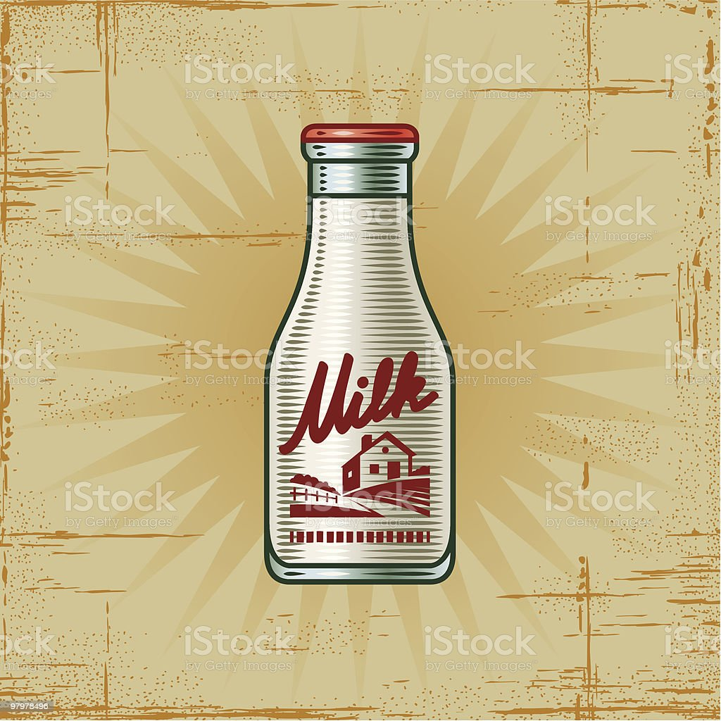 Retro Milk Bottle vector art illustration