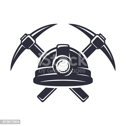 Retro mining sign with hard hat helmet and two crossed pickaxes. Stylish monochrome vector illustration.