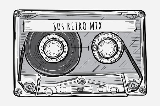 Retro mix - black and white drawn audio cassette