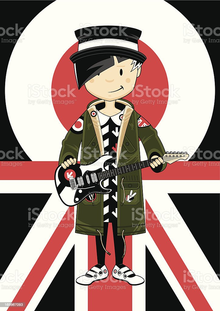 Retro Mod Girl with Guitar royalty-free stock vector art