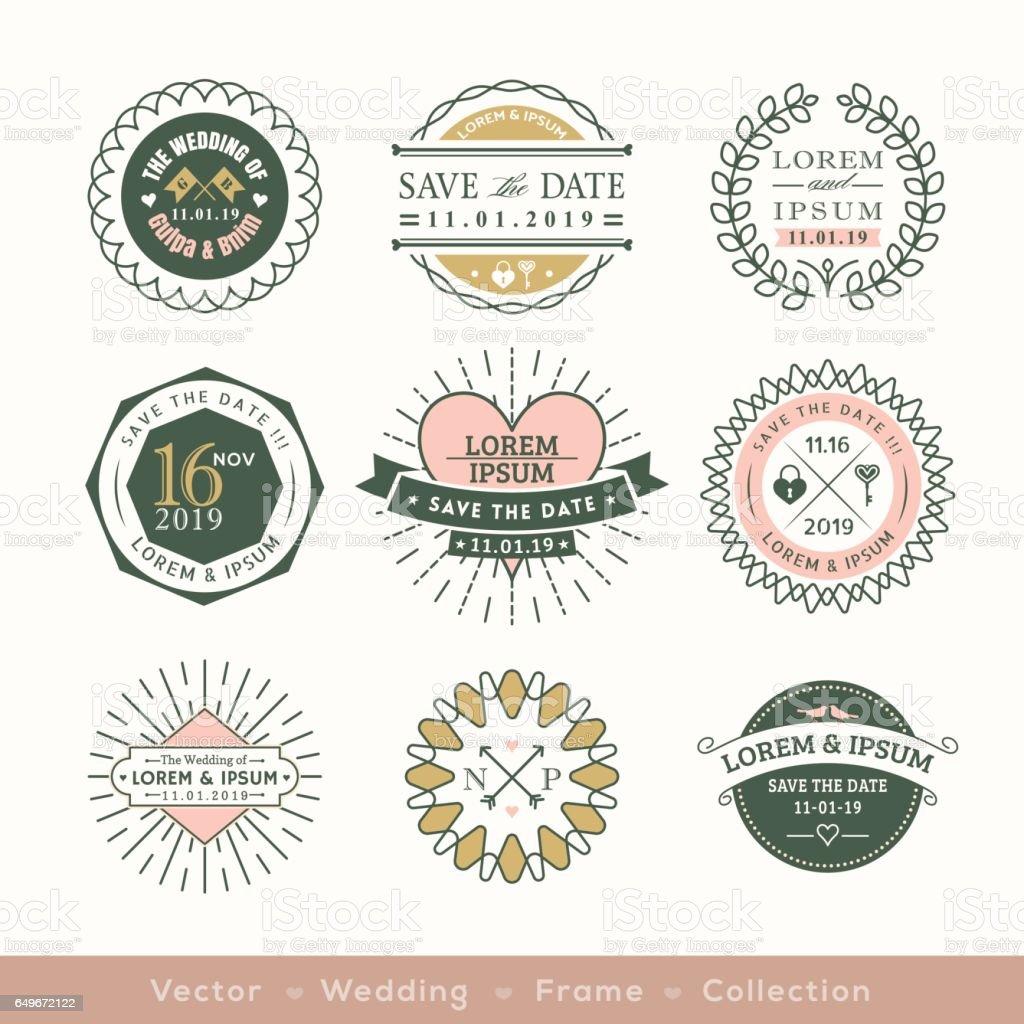 retro modern wedding logo frame badge design element stock
