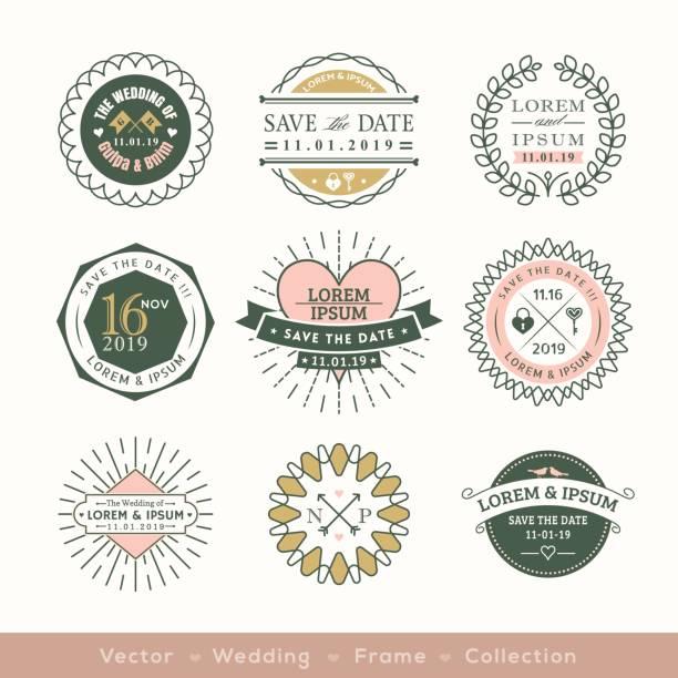 retro modern wedding logo frame badge design element vector art illustration