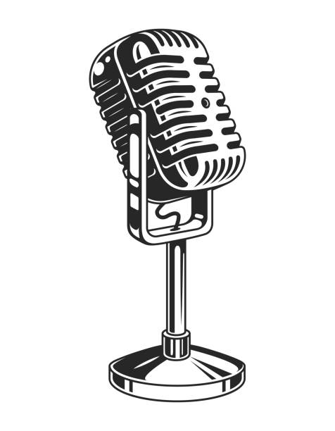 Retro monochrome music microphone concept Retro monochrome music microphone concept in vintage style isolated vector illustration microphone stock illustrations